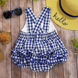 Baby Girl Smocked Crab Gingham Bum Ruffles Bubble