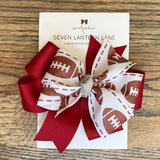 Crimson GameDay Football Hair Bow or Headband