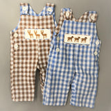 Dog and Deer Reversible Smocked Overall