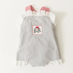 Smocked Elephant Sunsuit