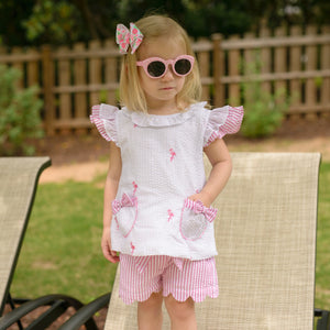 Girls Seersucker Flamingo Scallop Hem Short Set