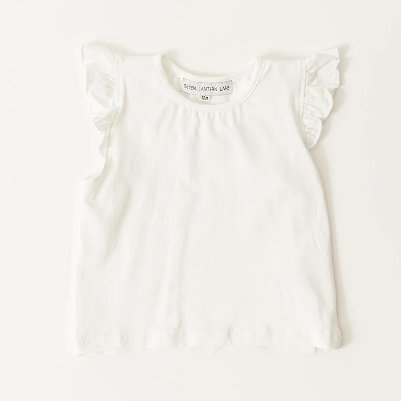 Girls White Flutter Sleeve Undershirt