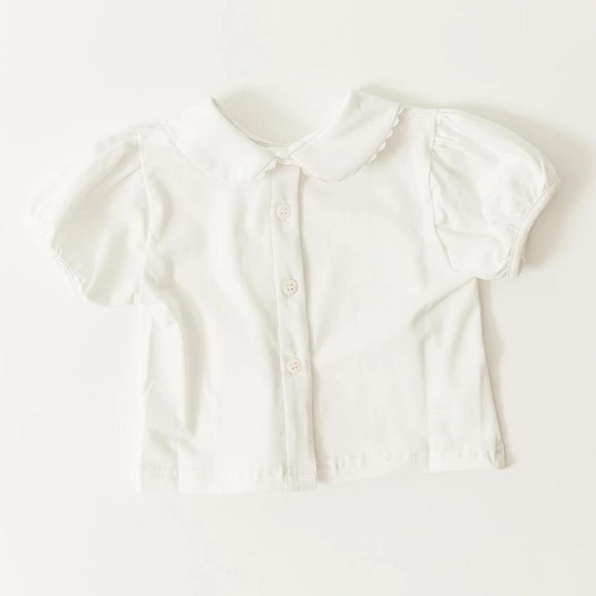 Girls Short Sleeve Undershirt With Collar