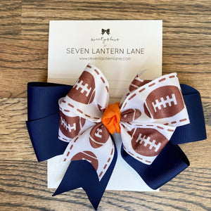 Navy GameDay Football Hair Bow or Headband