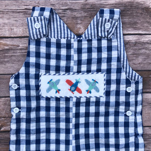 Gingham Airplane Smocked Overall