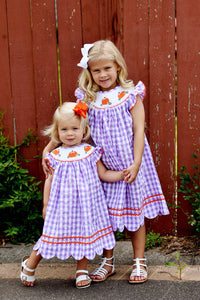 Bishop Smocked Pumpkin Halloween Dress