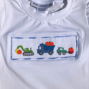 Smocked Pumpkin Halloween T-Shirt with Trucks