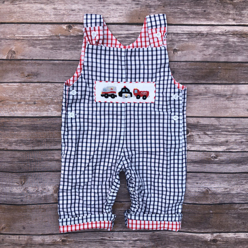 Smocked Rescue Trucks and Cars Overalls