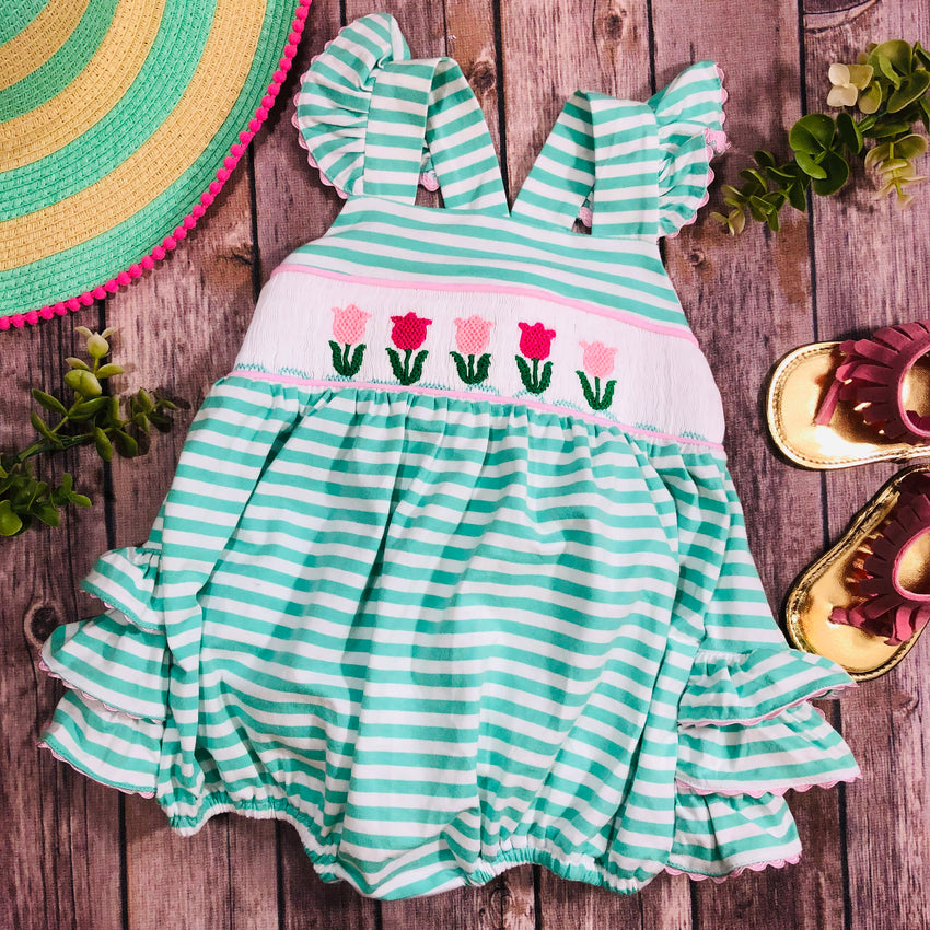 smocked tulip flower bubble ruffle bum knit