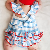Smocked Whale Flag Knit Ruffle Bum Bubble