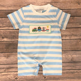 KNIT ZOO TRAIN SMOCKED SHORT ROMPER