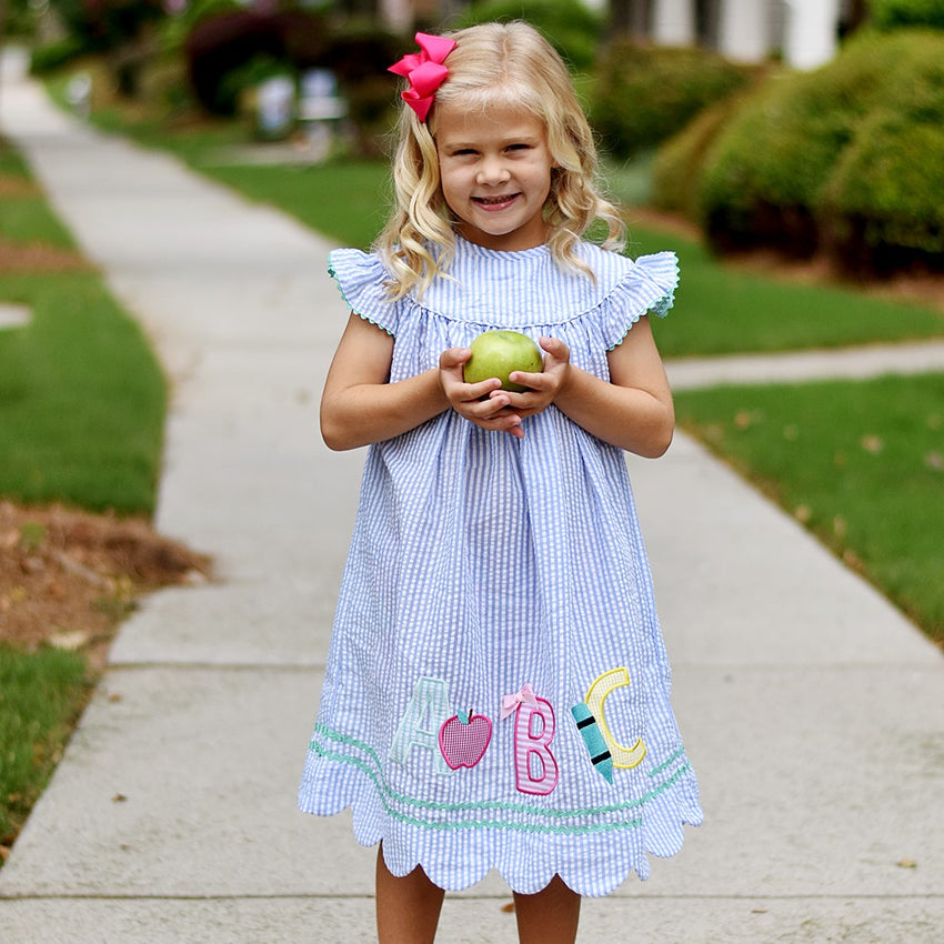 Scallop Hem Seersucker Back To School Alphabet Applique Dress