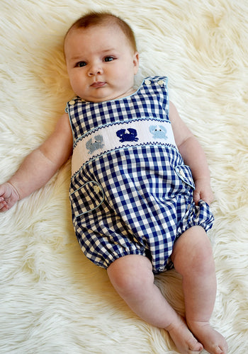Baby Boy Gingham Smocked Crab Bubble