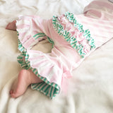 Girl's Smocked Dinosaur Romper with Bum Ruffles Smocked