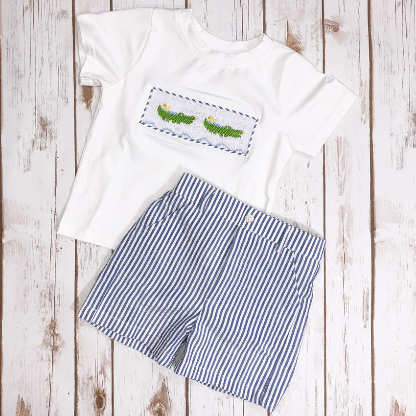 Boys Smocked Alligator Seersucker Short Set