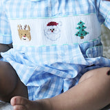 Smocked Christmas Bubble With Collar