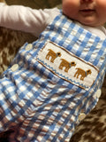 Reversible Dog and Deer Smocked GIngham Overall