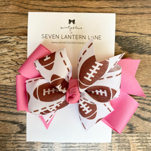 Pink GameDay Football Hair Bow or Headband