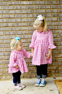 Pink Gingham Bell Sleeve Blouse Matching Sisters