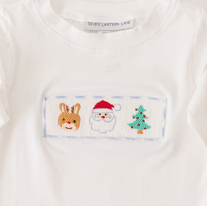 Long Sleeve Smocked Christmas T-Shirt