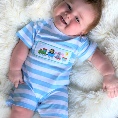 Smocked Zoo animal train knit boys romper