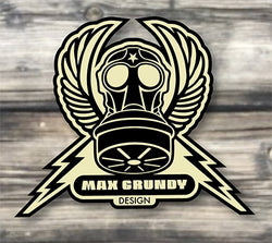 Max Grundy Design gas mask crest logo with lightning bolts and wings