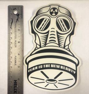 BLACK ON WHITE GASMASK die-cut sticker