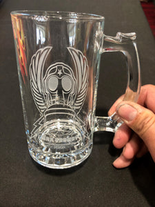GASMASK CREST etched glass stein