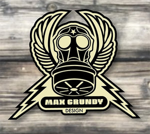 MAX GRUNDY CREST die-cut sticker