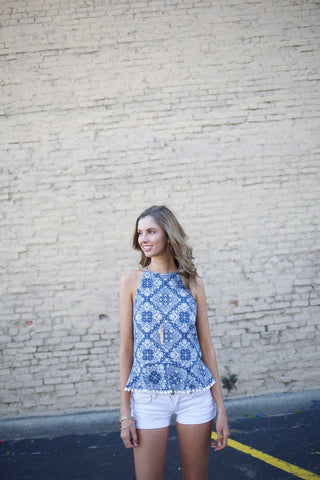 Fields of Paisley Denim Halter