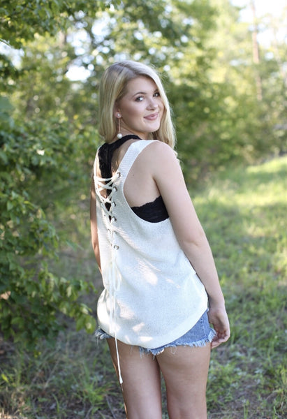 Cross My Heart Lace Up Tank