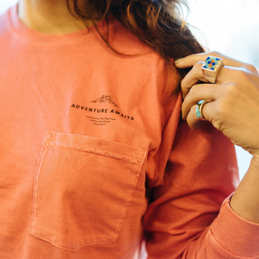 Adventure Awaits Unisex Pocket Long Sleeve Tee
