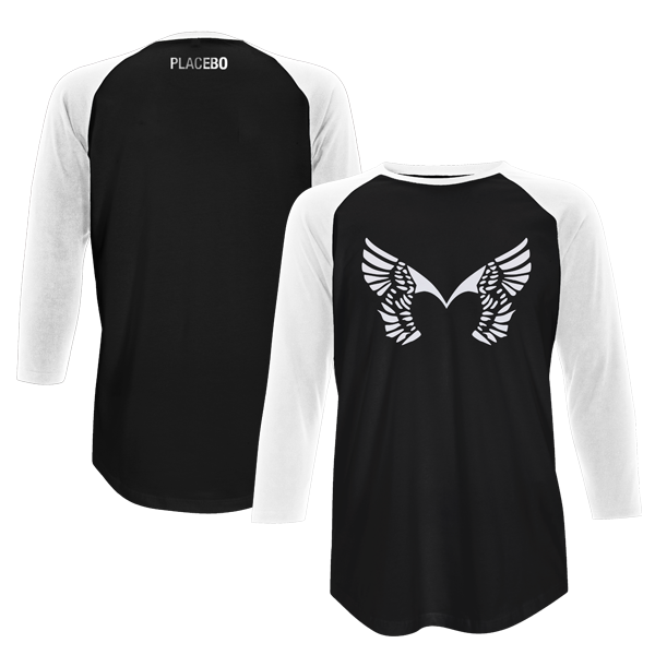 Placebo 'Front Wings' Black/White Baseball Tee