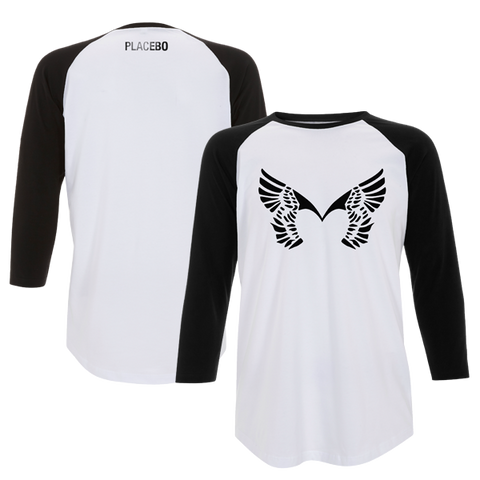 Placebo 'Front Wings' White/Black Baseball Tee