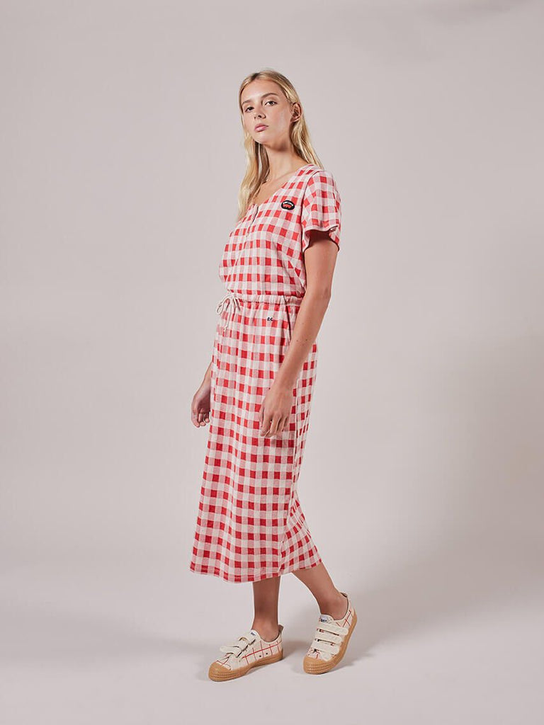 Organic Gingham Jersey Skirt by Bobo Choses