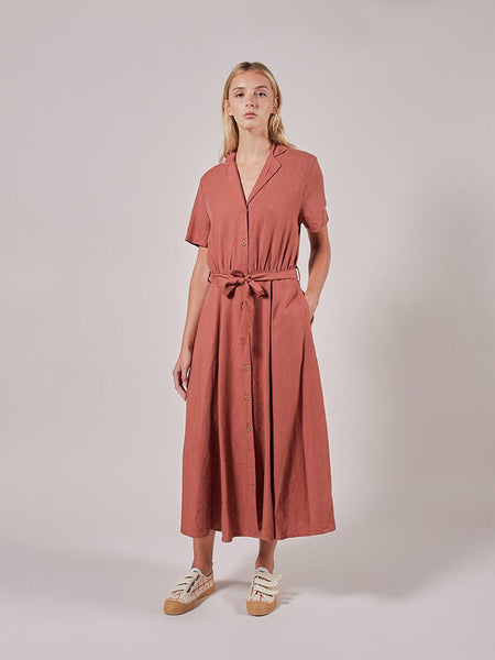 Plain V Neck Button Dress by Bobo Choses