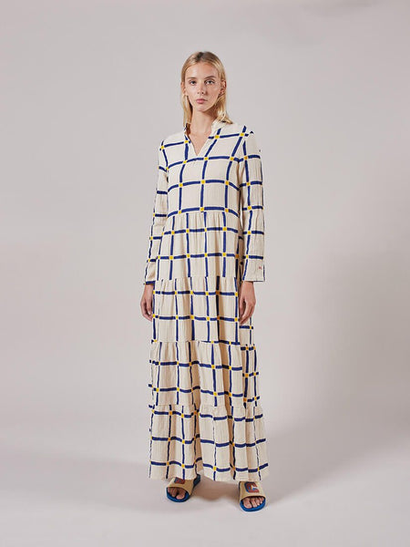 Long Flared Check Dress in Cream by Bobo Choses
