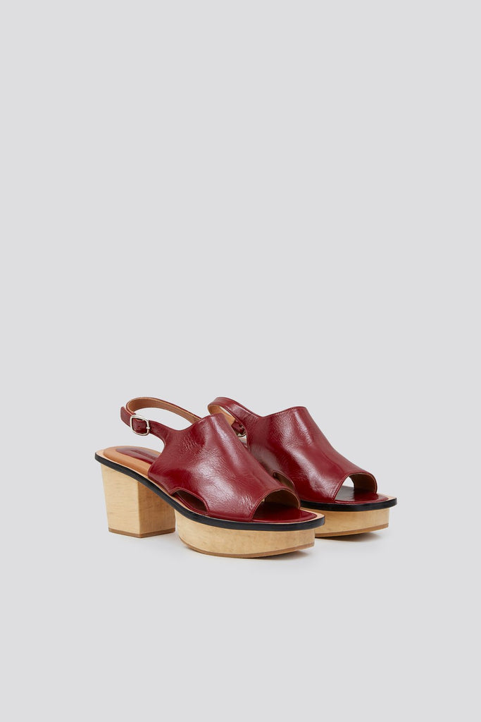 Orbatello Sandal in Wine Crinkle Patent by Rachel Comey