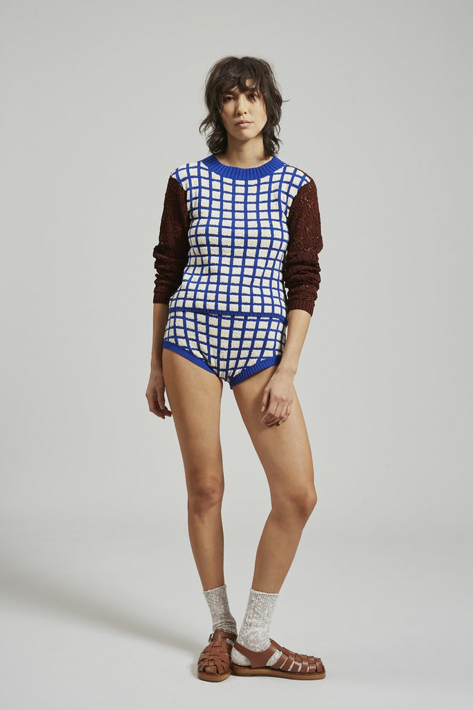 Lando Top in Blue Grid Boucle by Rachel Comey