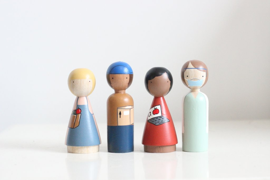 Essential Workers Wooden Doll Set by Goose Grease