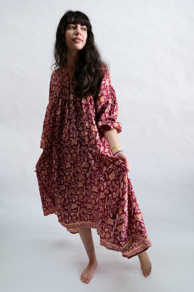 Jemima Dress in Autumn Merlot Silk by Natalie Martin