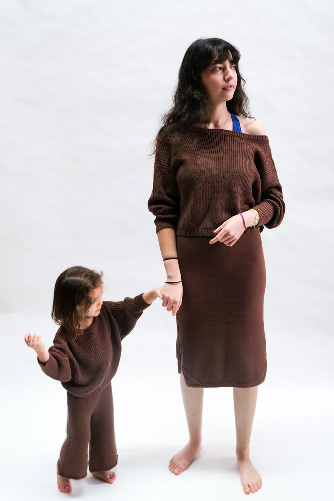 Kids Scoop Back Sweater in Chocolate by Raised By Water