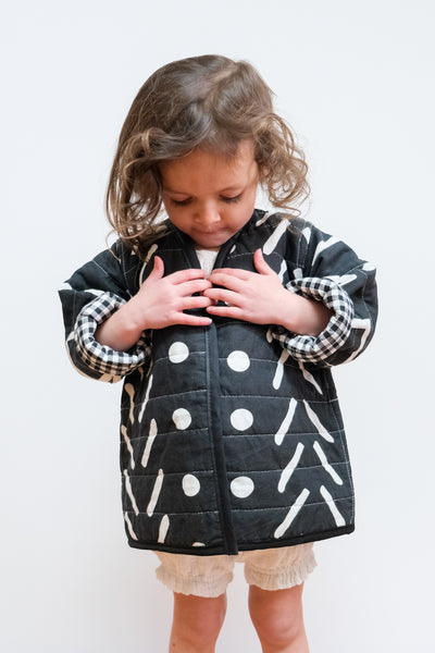 Black Gingham & Patterns Reversible Quilted Coat by Candid Art