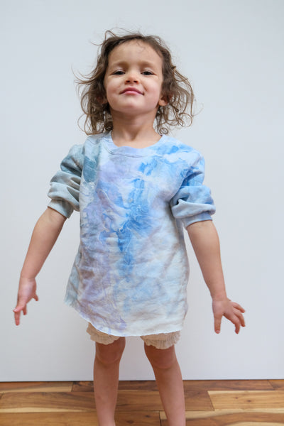 Kids Baby Fond Sweatshirt in Ink Marble by Rachel Comey