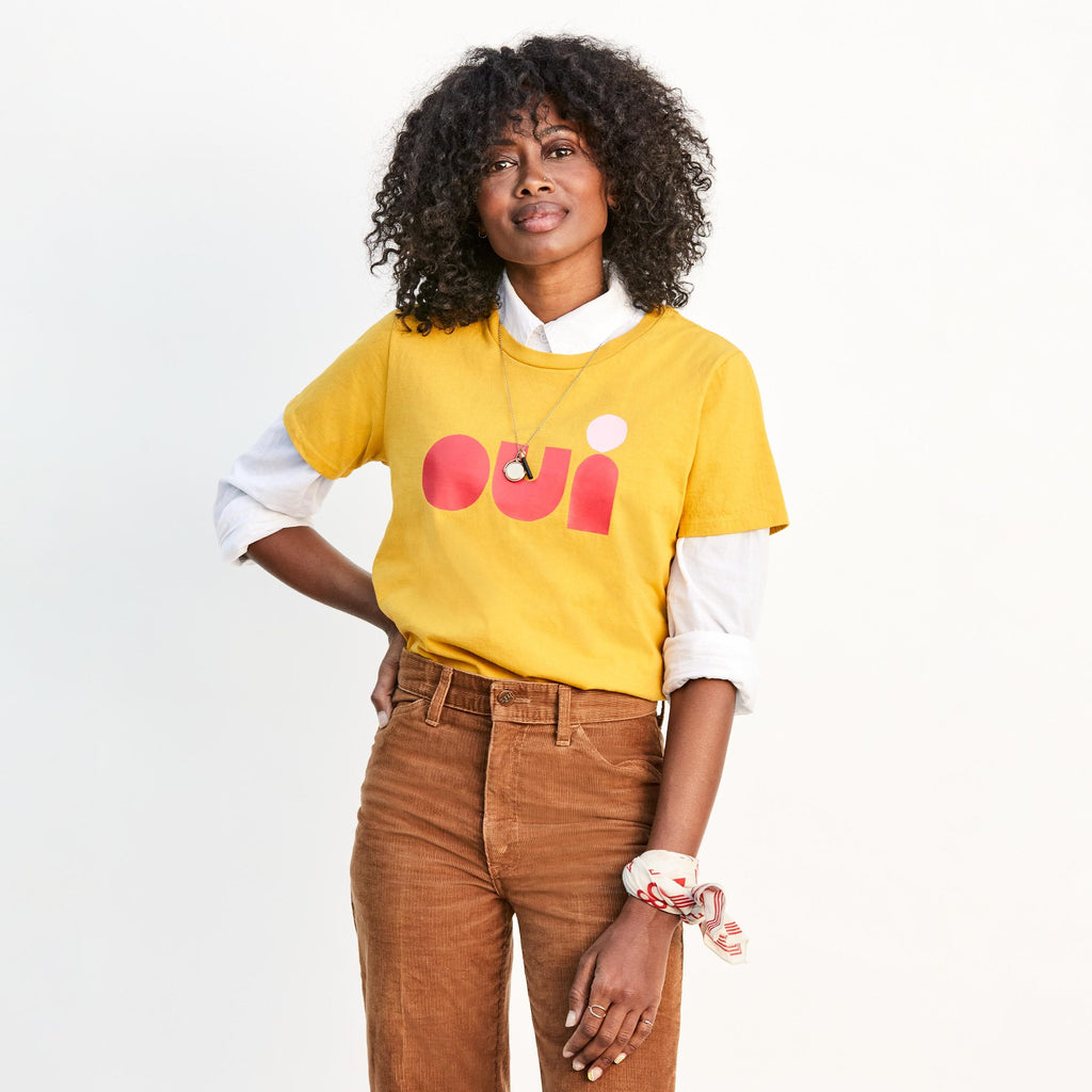 OUI Heavy Tee in Marigold by Clare V