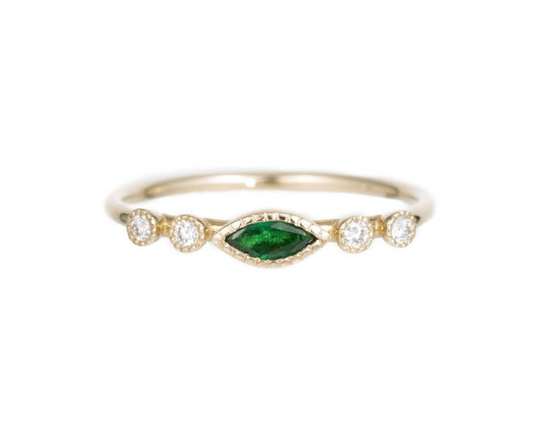 Marquise Emerald Dew Ring by Jennie Kwon