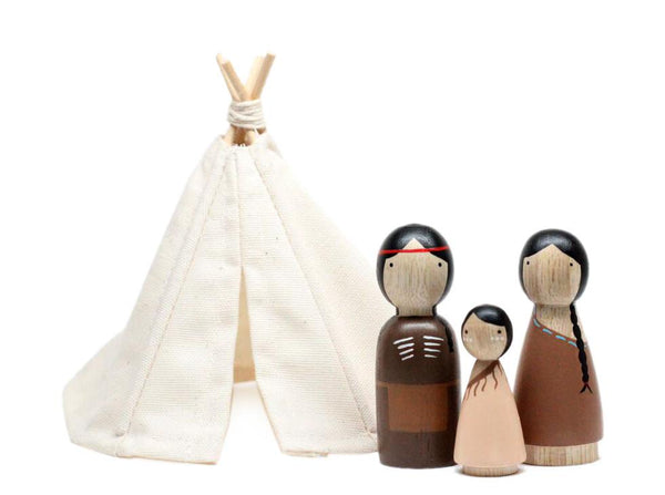 Native Americans + Teepee Wooden Doll Set by Goose Grease