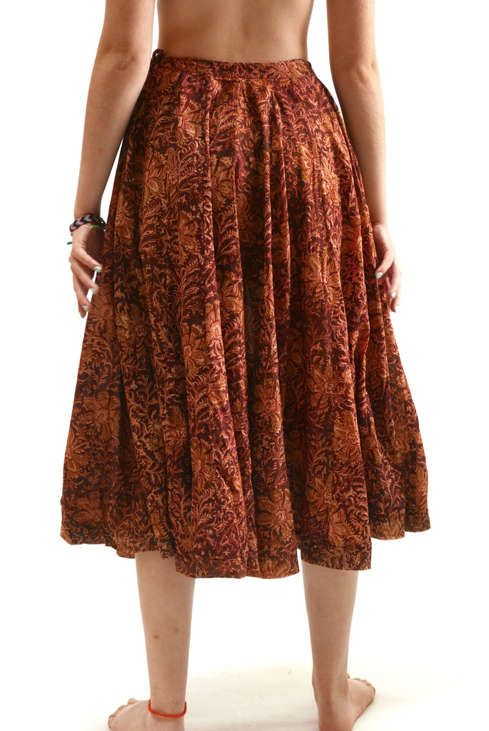 Gagra Kalamkari Skirt in Geranium by Matta