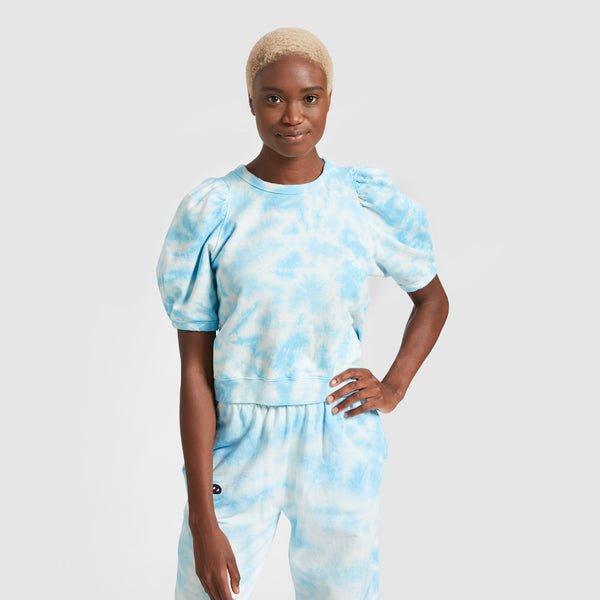 Puff Sleeve Sweatshirt in Light Blue Tie Dye by Clare V