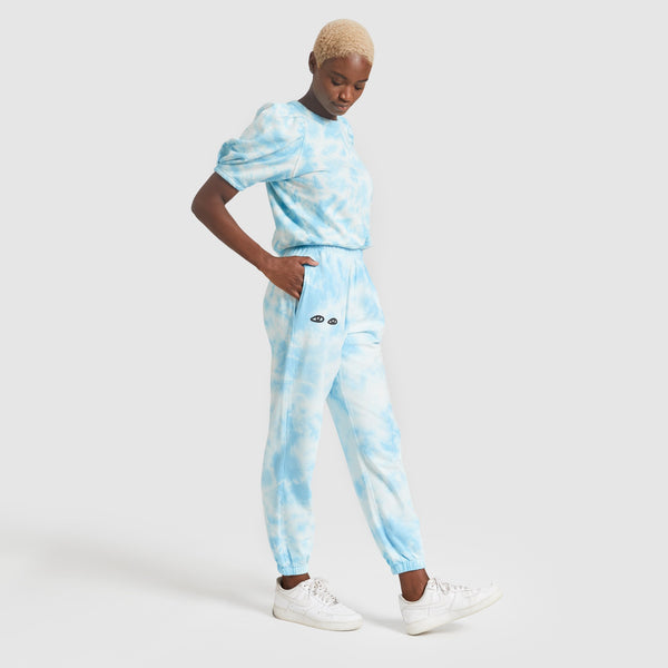 Sweatpants in Light Blue Tie Dye by Clare V